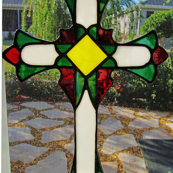 Stained Glass Cross ~ Christian Cross ~ Christmas Cross ~ Cross Sun Catcher ~ Religious Gift  ~ Communion Gift ~ Easter Gift