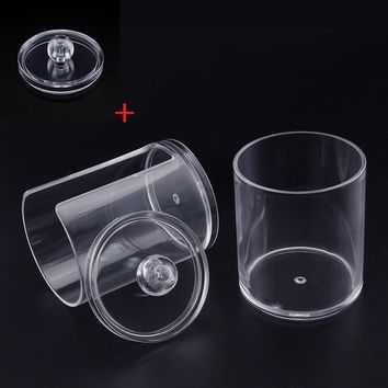 Dual Layer Cylinder Acrylic Cotton Storage Box Makeup Cotton Nail Remover Container + Storage Case Cap (buy one get one free)