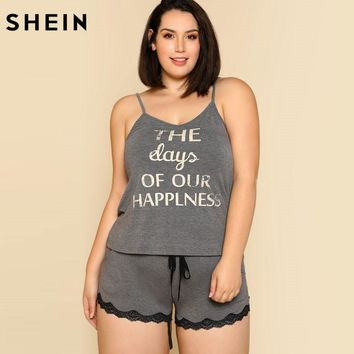SHEIN Summer Sleeveless Grey Pyjamas Women Two Piece Set Sleepwear Letter Print Cami & Lace Hem Shorts PJ Set Lace Pajama Sets