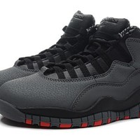 Hot Air Jordan 10 Retro Women Shoes Gray Black Red