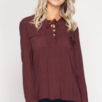 Wine Lace Up Pocket Top