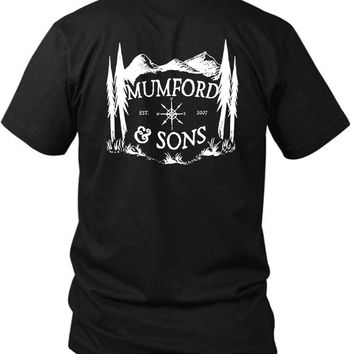 Mumford And Sons Logo Est Mountain Background 2 Sided Black Mens T Shirt