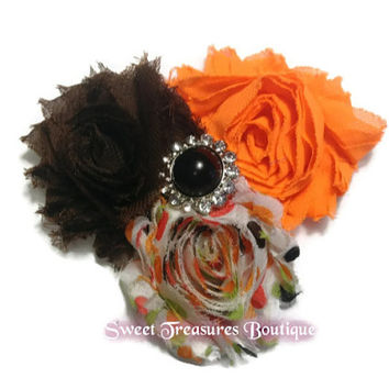 Back to school fall shaby hair bow - hair clip for little girls baby and teens - flower hair bow
