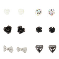 LOVEsick Rose Bow And Heart Earrings 6 Pair