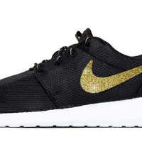 Nike Roshe One - Hand Customized Gold Glitter Swoosh - Black/White