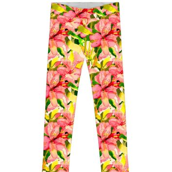 Havana Flash Lucy Colorful Floral Print Knit Leggings - Girls