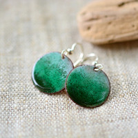 Green enamel earrings - green round dangle earrings - sterling silver earwire -  handmade jewelry by Alery