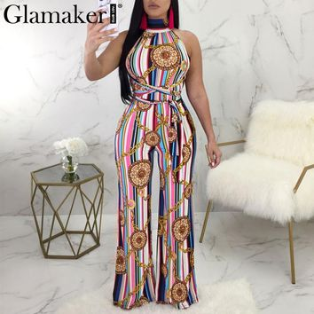 Glamaker Halter chain stripe jumpsuits&rompers Summer bandage women jumpsuit overalls Streetwear backless sexy jumpsuit playsuit