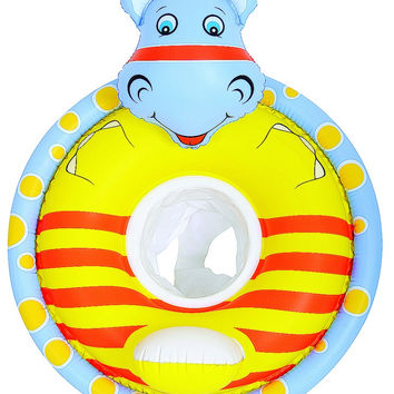 "31.5"" Gray and Yellow Hippo Children's Inflatable Swimming Pool Baby Seat Float"