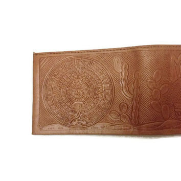 Vintage Hand Tooled Wallet Mexican   Design Mid Century Wallet Leather   Wallet Retro Wallet Handmade Wallet