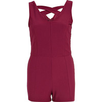 River Island Womens Red jacquard cross strap romper