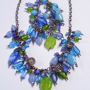 Blue and Green Beaded Statement Bracelet and Necklace Set
