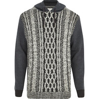 River Island MensGrey cable knit hoodie