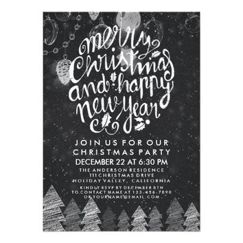Black & White Merry Christmas Happy New Year Party Card