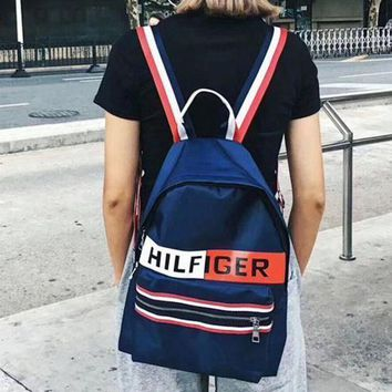 Tommy Hilfiger Trending Unisex Print Canvas Sport Laptop Bag Shoulder School Bag Backpack I