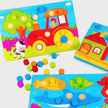 Baby Kids Wooden Tan gram Puzzle Educational Cartoon Board Infant Child Toy Gift