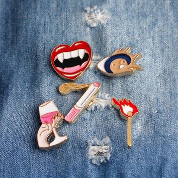 creative Vampire Girl Lips Red Wine Matches Cigarette Brooch Button Pins Denim Jacket Pin Badge Cartoon Fashion  Gift
