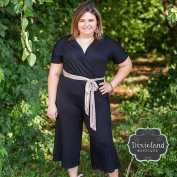 Black Cropped Jumpsuit with Sash