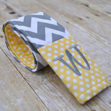 Chevron camera strap cover with monogrammed lens cap pocket (light yellow and gray chevron)
