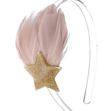 Lilies & Roses NY Girl's Pink & Gold Feather and Star Headband