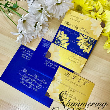 Sunflower rustic wedding invitation set monogramed laser cut belly band and RSVP card flower outdoor country