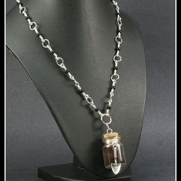 Grave Yard Dirt Vial Pendant on Handcrafted Necklace, One of a Kind OOAK, Large Bottle Vial 30mm x 20mm