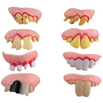 LMFONHS New 10pcs Funny Goofy Fake Vampire Denture Teeth Halloween Decor Prop Trick Toy