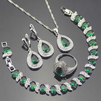 Green Zircon Costume 925 Silver Jewelry Sets Wedding Women Earrings With Stones Bracelets Necklace Rings Set Jewellery Gift Box