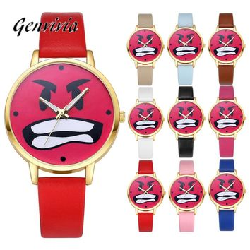 Ladies Big Angry Face Wristwatch Watch