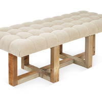 "Theodore 24"" Tufted Bench, Oatmeal, Bedroom Bench"