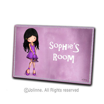 Purple kids room sign, personalized children wood door plaque, nursery art, kids custom sign