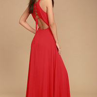 Super Starlet Red Lace-Up Maxi Dress