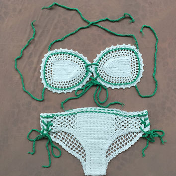 Sexy girl women cotton knitted bandage hollow net crochet thongs bikini sets swimwear handmade swimsuit knitting bathing suit