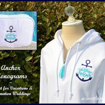 Preppy Anchor Monogrammed Hoodie Pullover by SomethingYouGifts
