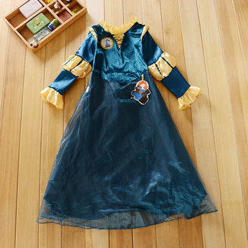 Free shipping Anime Princess Brave Merida Cosplay Halloween Costume Dress for 5-8T girls for christmas