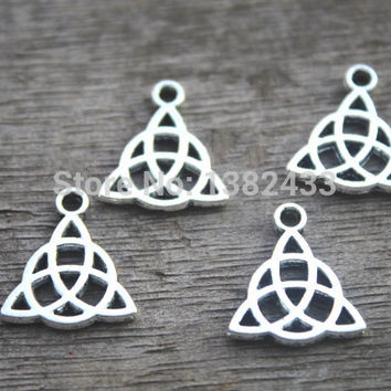 30pcs--Celtic Knot Charms Tibetan Silver Tone 2 Sided Celtic Knot pendants,Triquetra,Celtic Triquetra Knot, Trinity Knot 14x16mm