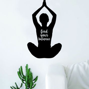Yoga Find Your Balance Quote Wall Decal Sticker Room Art Vinyl Meditation Meditate Namaste Lotus Flower Mandala