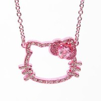 Hello Kitty Face Necklace: Pink Gold
