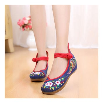 Sunflower National Style Woman Shoes Increased within Emboridered Shoes Old Beijing Cloth Shoes Woman Spring Summer Shoes blue