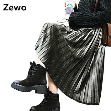 Zewo Spring Summer Vintage Metal Velvet Skirts Womens Pleated Solid High Waist Casual Beach Long Maxi Skirt 8 Colors Female 2017