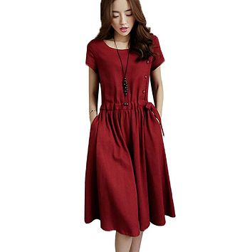 Lace Girl Cotton and Linen Dresses 2018 Summer Dress For Women Midi Solid Color Short Sleeve Dress Spring Casual Vintage Dress