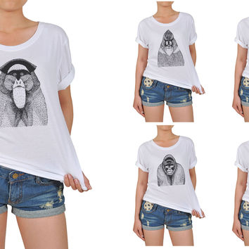 Women Hand Draw Monkeys Graphic Printed Cotton T-shirt  WTS_12
