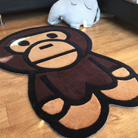 Free Shipping Hot Bape Baby Milo Shaped Rug Floral Carpet Mat Rugs Tapetes De Sala