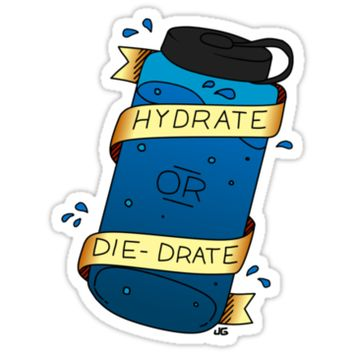 'Hydrate or Die-Drate' Sticker by Jackapedia