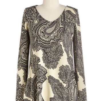 ModCloth Mid-length Long Sleeve Paisley One More Time Top