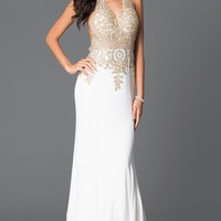 V-neck Halter Top Open Back JVN by Jovani Prom Dress