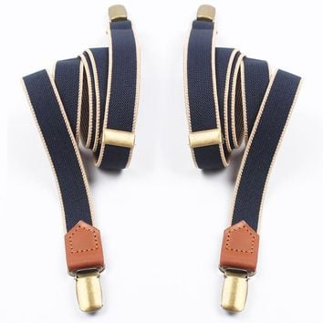 Mantieqingway Elastic Clip-On Suspenders with Leather Ends