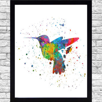 Wall Art Print Watercolor Printable Art, Hummingbird Wall Art Download, Hummingbird Wall Decor, Humming Bird Watercolor Paint Splatter Art