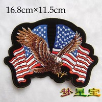 Lot of 5 PCS Embroidery Patches eagle USA flags  A615 Iron on 16.8cm*11.5cm