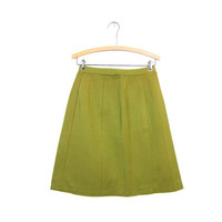 60s OLIVE Green High Waist Skirt 1960s A Line Stretchy Mod Mini Skirt Basic Plain Skirt Hipster Girl Louannes Vintage Womens Medium